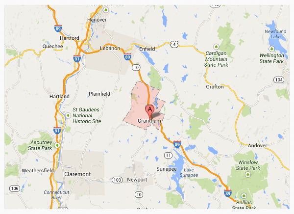 Grantham NH is located less than 15 minutes from Sunapee, 25 minutes from Dartmouth, 2 hours from Boston and 4.5 hours from New York City.