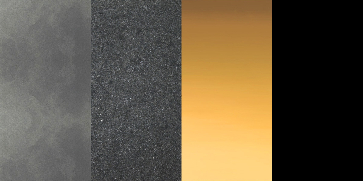 MATERIAL PALETTE (from left to right)  1. Pearl rendering 2. Burner finish Granite 3. Gold plated steel panels 4. Black stretched membrane