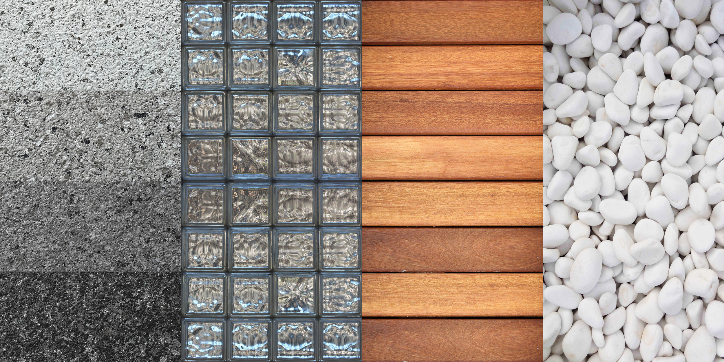 MATERIAL PALETTE (from left to right)  1. Four shades of stone-look acrylic paint 2. Glass blocks 3. Kempas hardwood decking 4. White pebbles