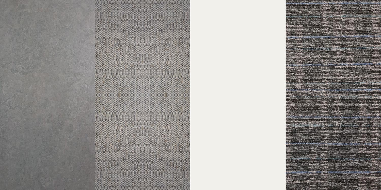 MATERIAL PALETTE (from left to right)  1. Marmoleum 2. Decotile 3. Off-white vinyl paint 4. Carpet tile