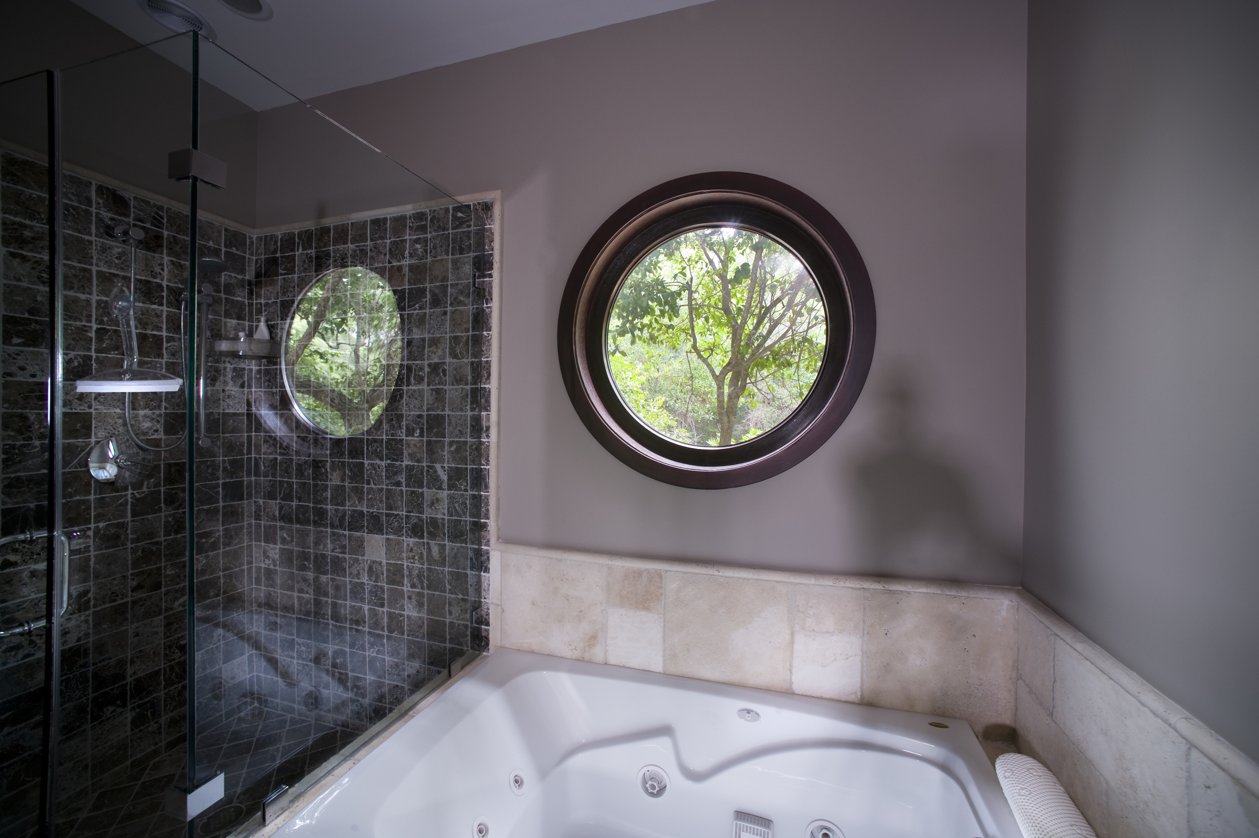 Circular Wood Grain Laminated Vinyl Window