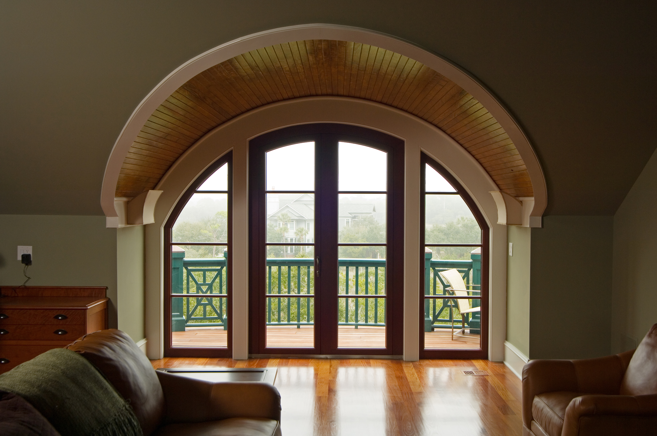 Custom Arched French door with Sidelights, Mahogany with Aluminum Cladding