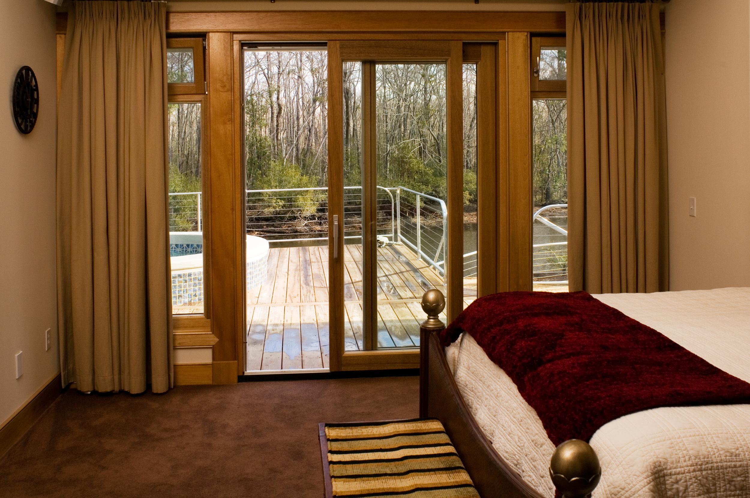 Custom Lift and Slide Door made with Meranti Wood