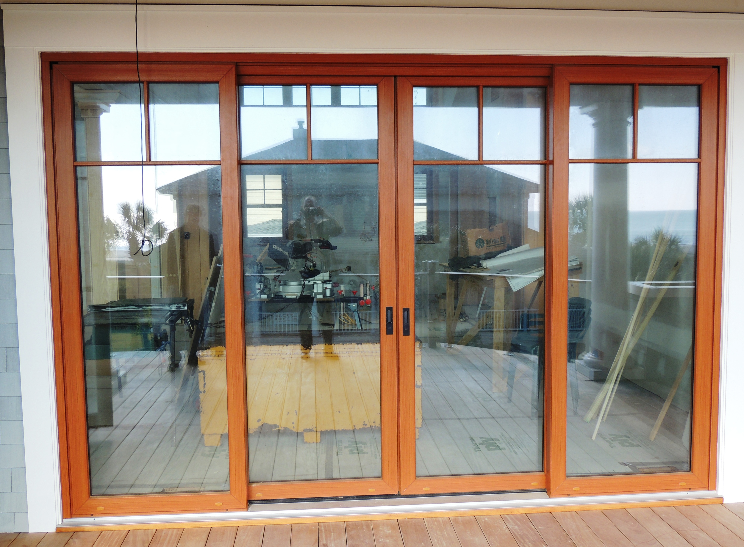 Maintenance Free UPVC Lift and Slide Door with Cherry wood grain lamination