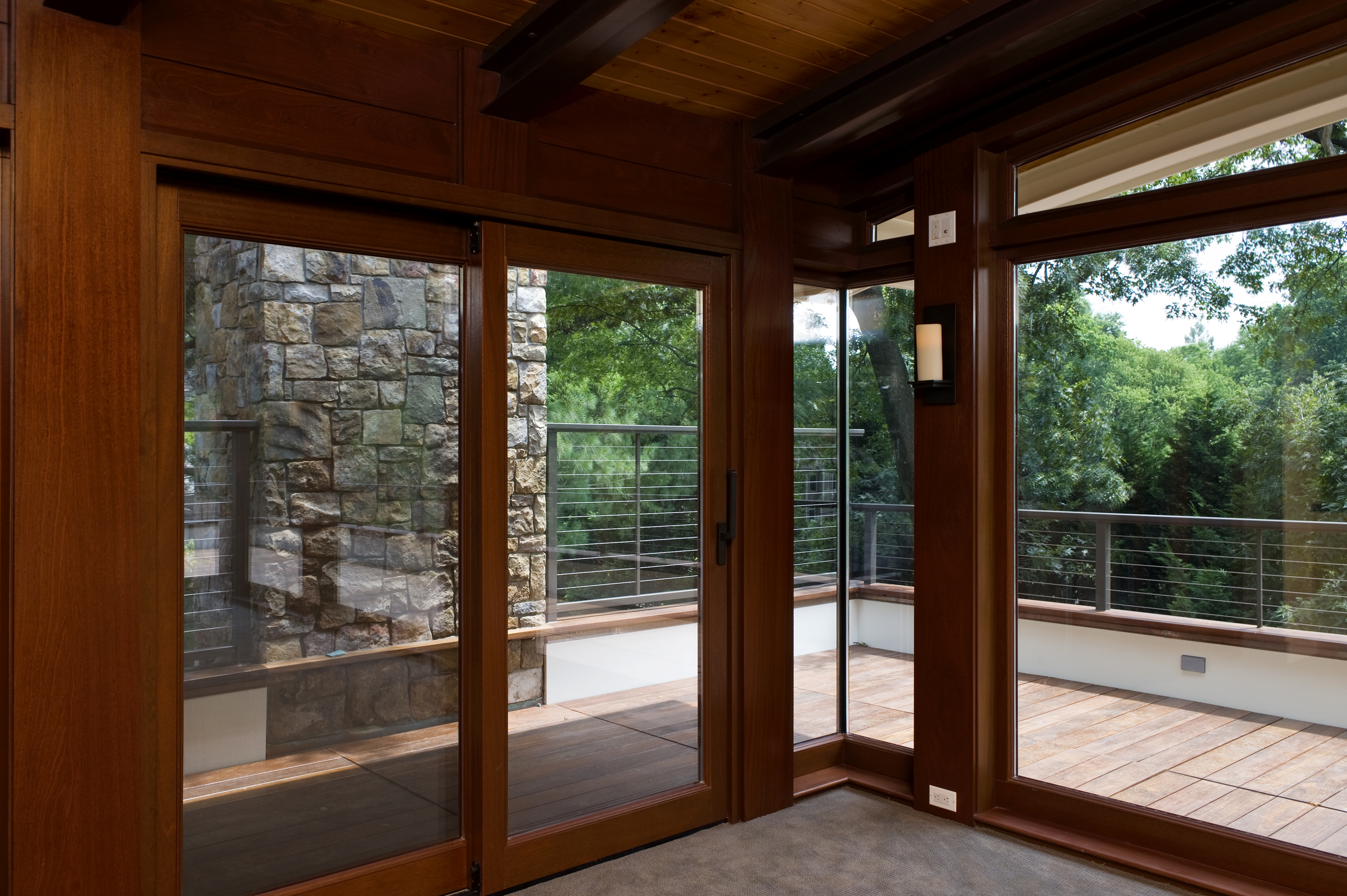 Mahogany Lift and Slide Door with 90 Degree Glass on Glass Corner