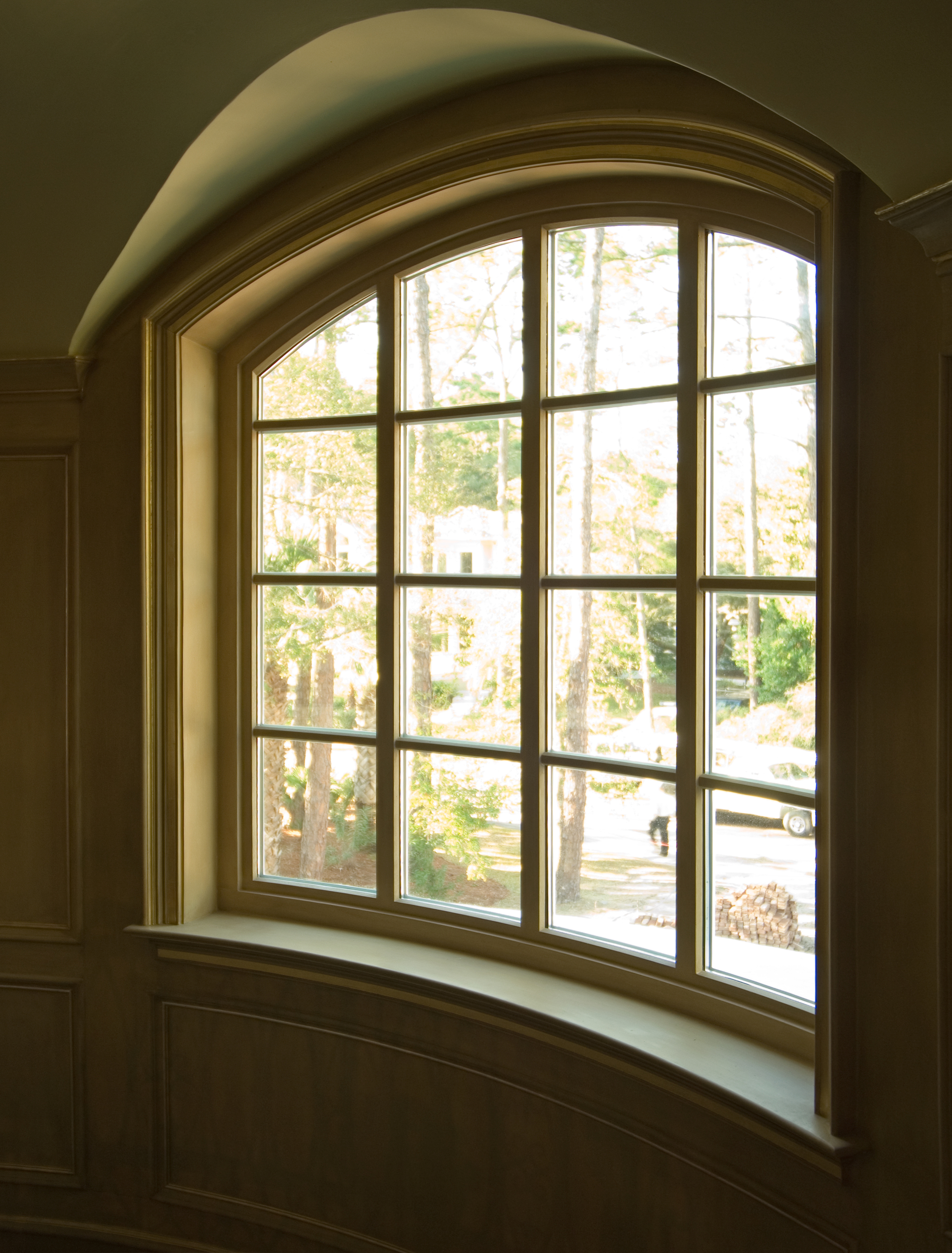 Curved, arched window