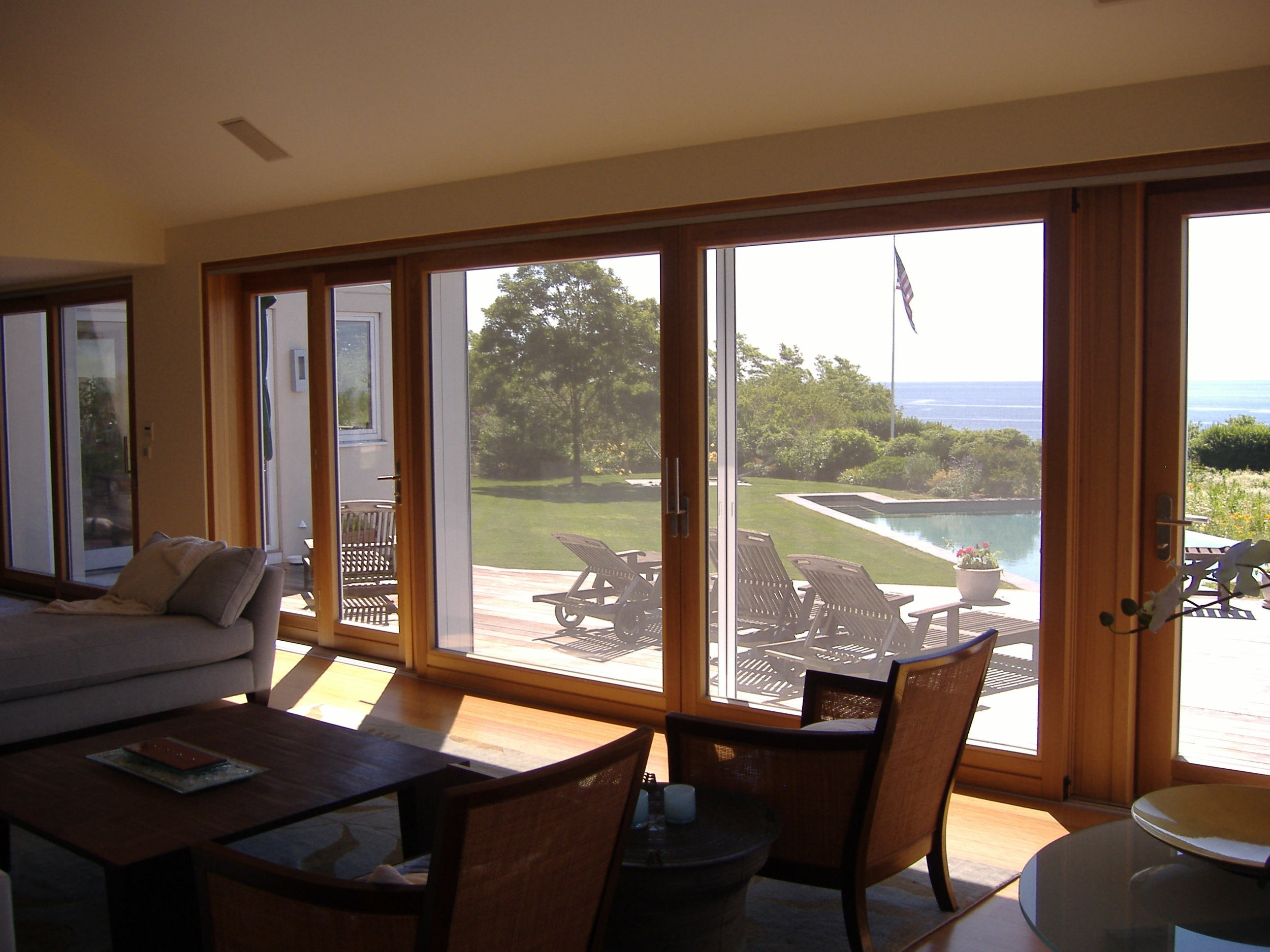 Lift and slide door with French doors as sidelights