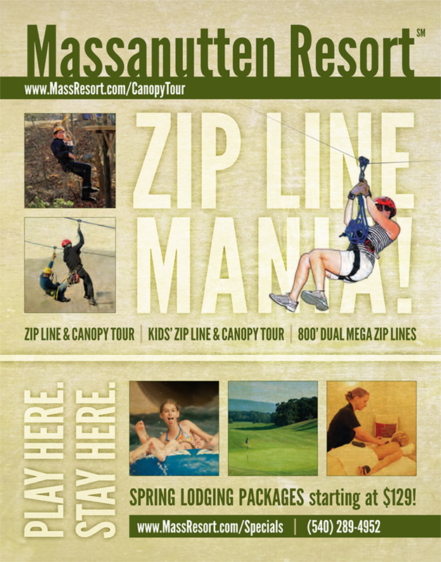Blue Ridge Outdoors Ad  February 2013 | Advertisement featuring zip lines and lodging packages at Massanutten Resort