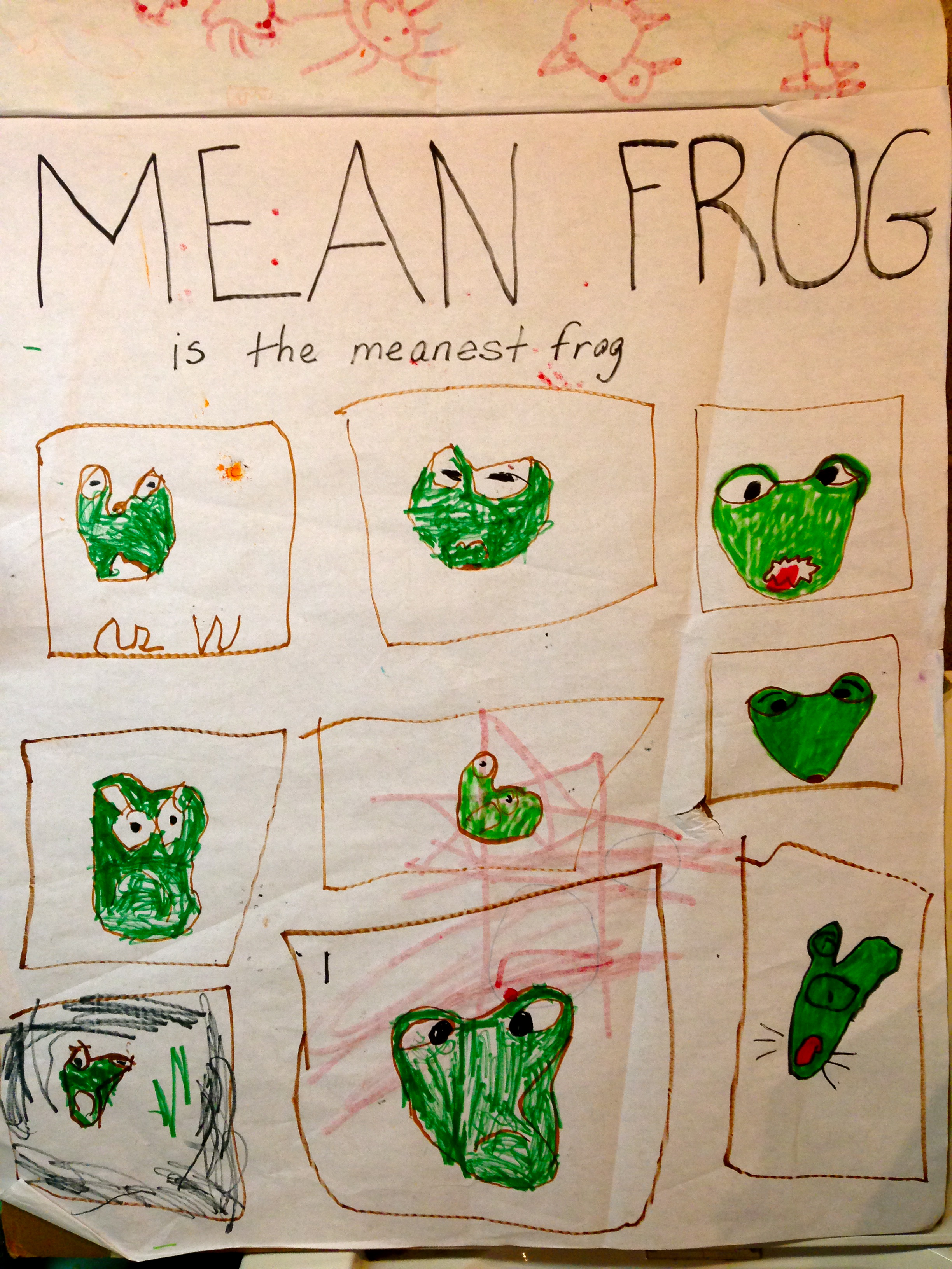 The Mean Frog is the Meanest Frog:  Drawing by Author's Son
