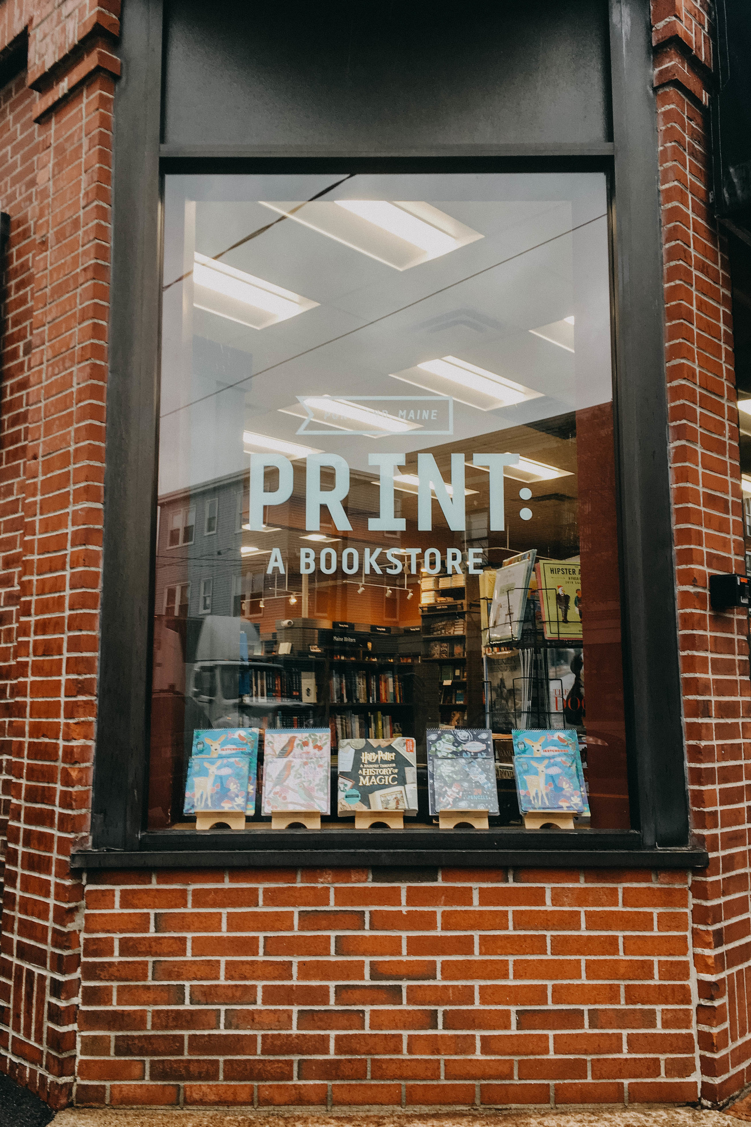The cutest little bookstore in Portland. Print: a bookstore, carries a lot of books about Maine and authors from Maine!