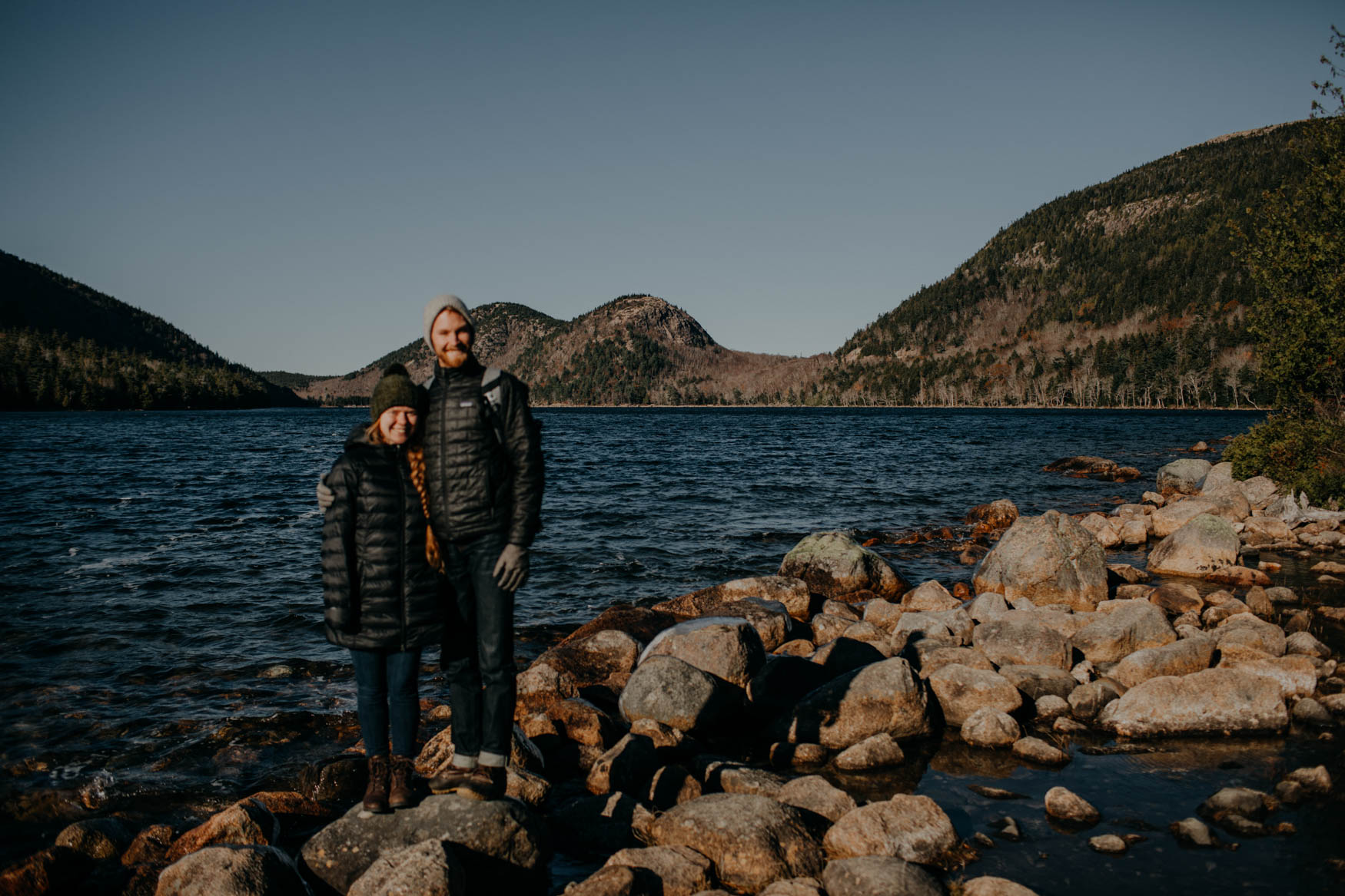 A very out of focus photo of us at Jordan Pond, thank you kind sir for offering to take it for us! Sorry my camera is hard to use haha