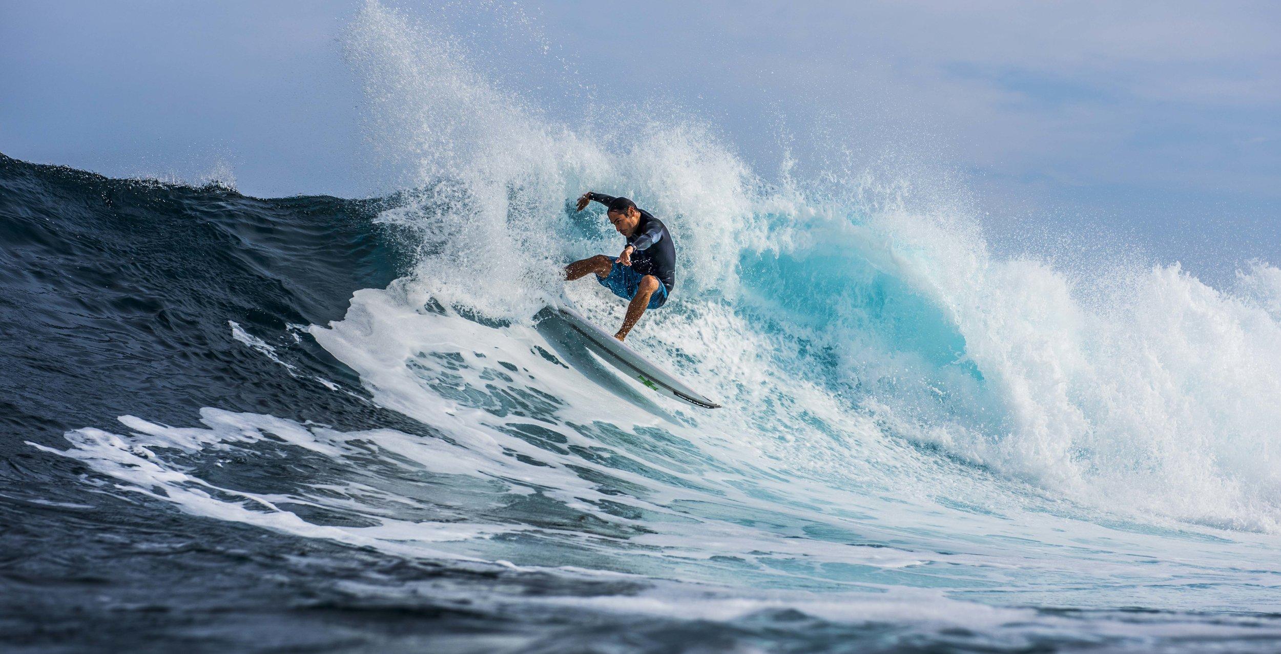 I love surfing.