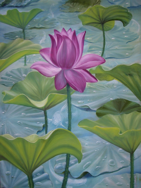 """Lotus with seven koi    24"""" x 36""""  2004"""