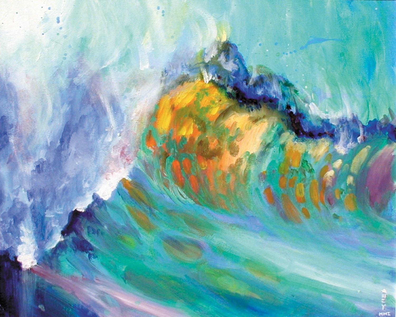 """Multi-colored wave    12"""" x 16""""  2001"""