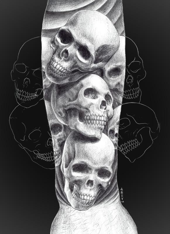 Pile of skulls forearm