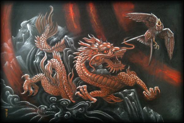 Dragon and bird.