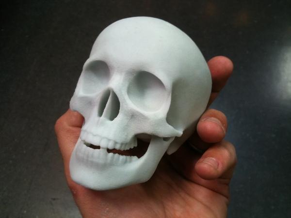 3D printed glass skull.