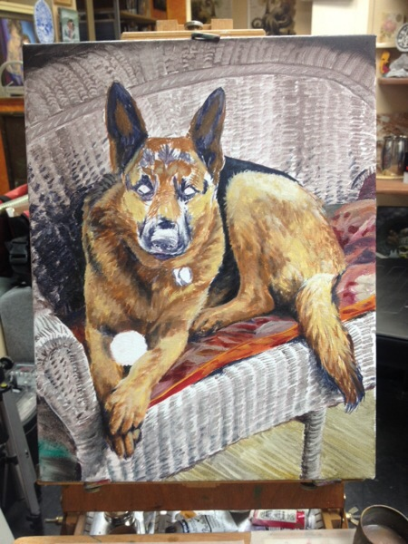 Once I was comfortable with the chair I began blocking in the color of the dog.