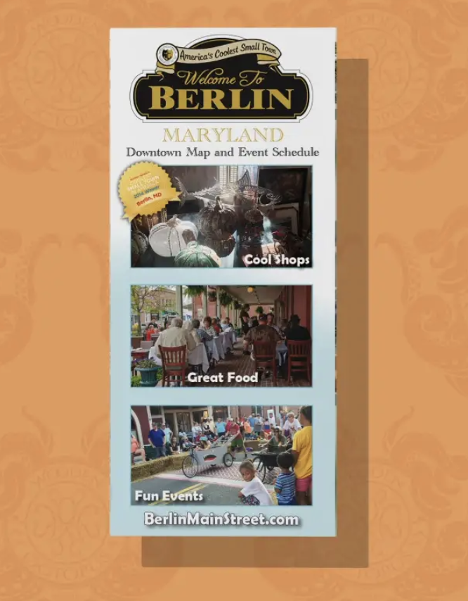 Berlin Maryland visitor's guide and map. I designed the layout of this print media in addition to creating this display video in After Effects.