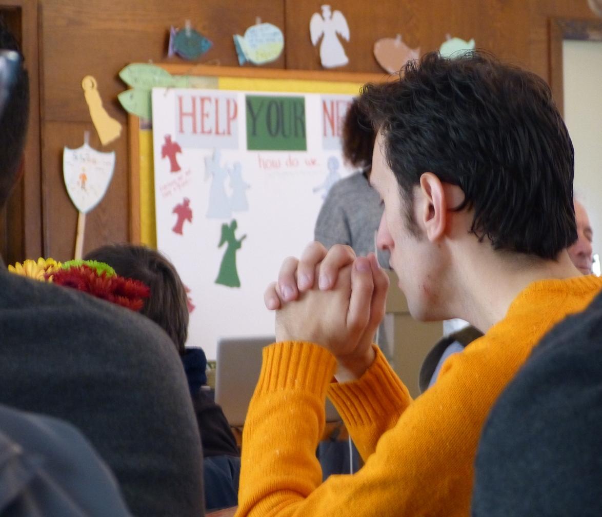 Mark prays silently during Opening Worship