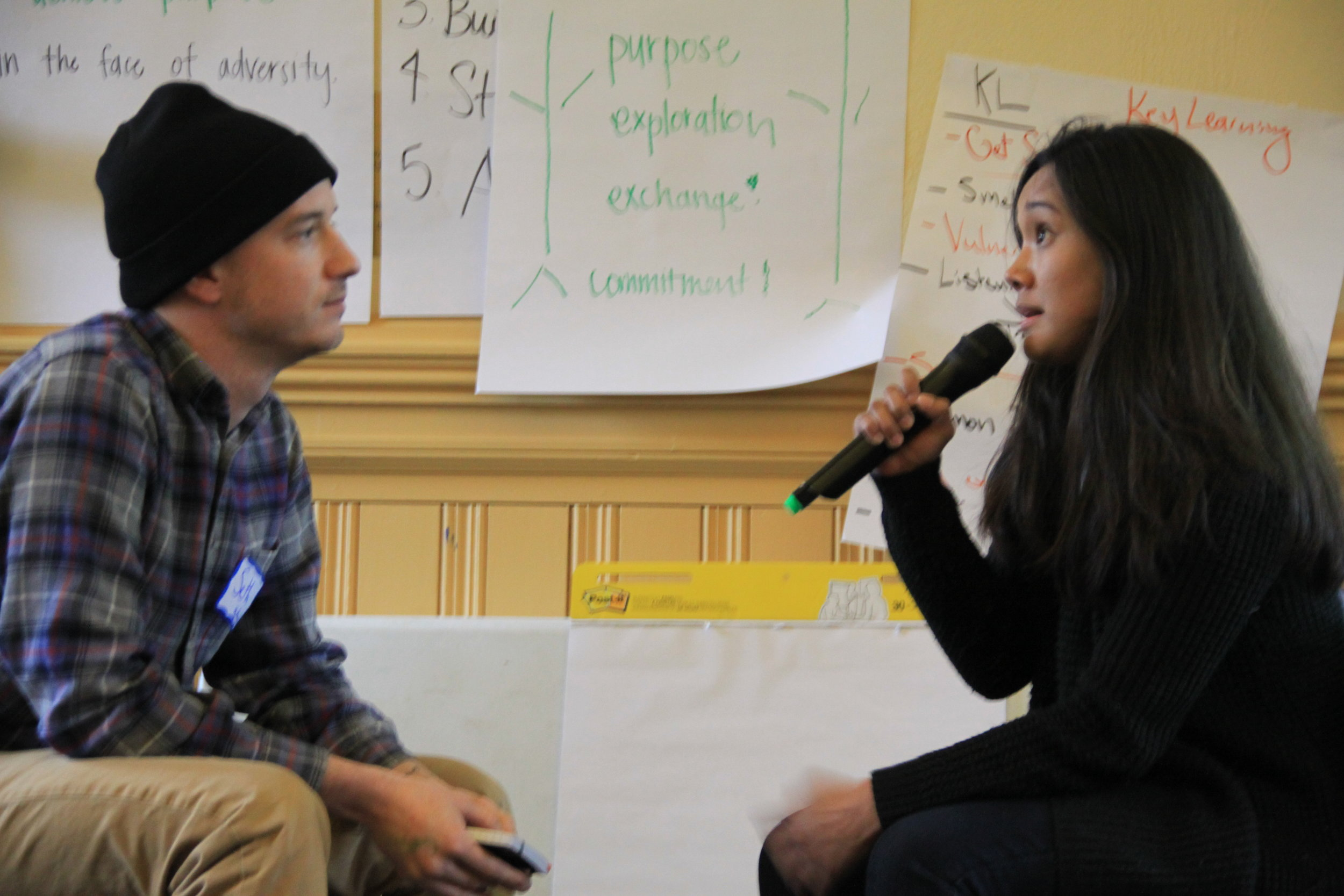Seth and Alicia model a one-to-one during the module on relationships