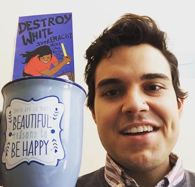 Jesse enjoying a cup of coffee