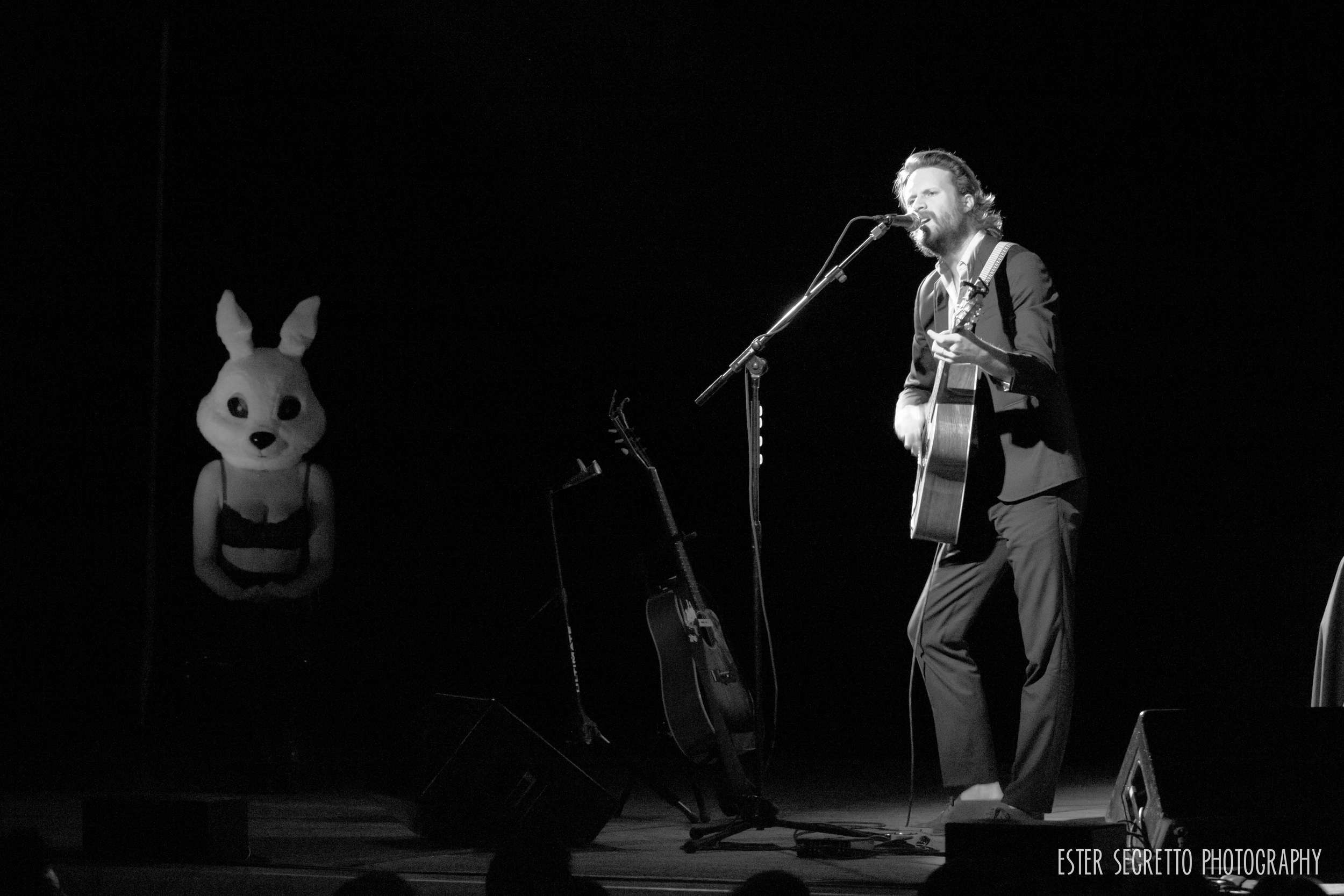 Father John Misty played a very unconventional CMJ show this October at Town Hall in NYC. His special guest all night was a giant bunny, but did we expect anything less from Father John?