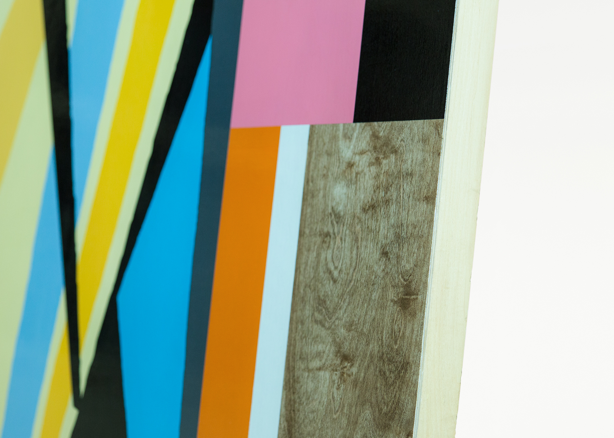 Untitled, 2015 (detail) Spray paint and polyurethane on wood 36 x 48 x 3 inches