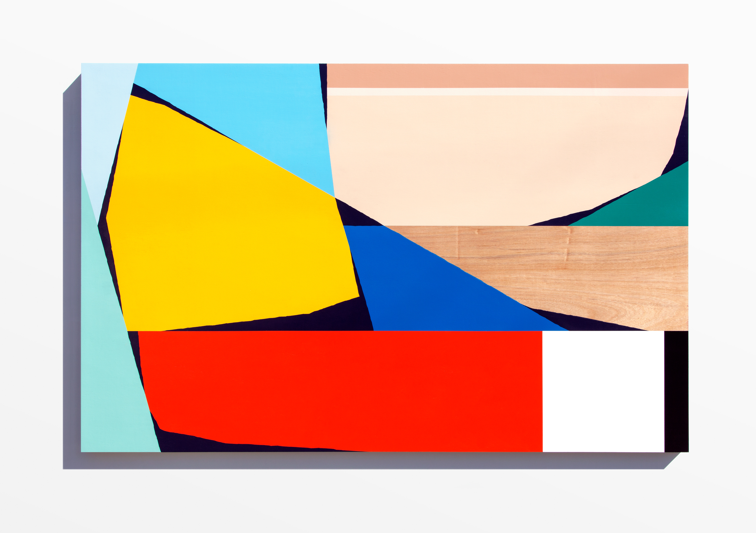 Untitled, 2017 Spray paint and polyurethane on birch panel 75 x 48 x 2 inches