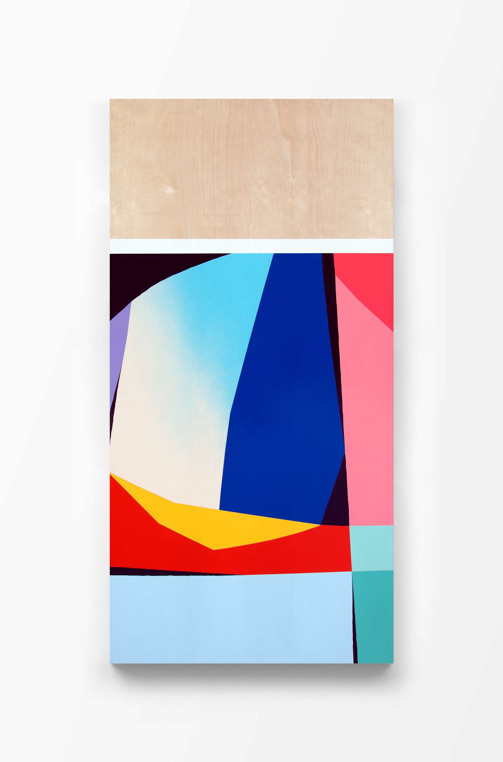 Untitled, 2017 Spray paint and polyurethane on birch panel 24 x 48 x 1.5 inches