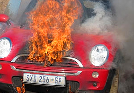 A Mini Cooper explosion really is the cutest way to burn to death.