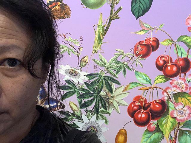 Ici avec cerises - a detail from the fabulous wallpaper by @fallen_fruit #foodbiggerthanplate #becausecherries
