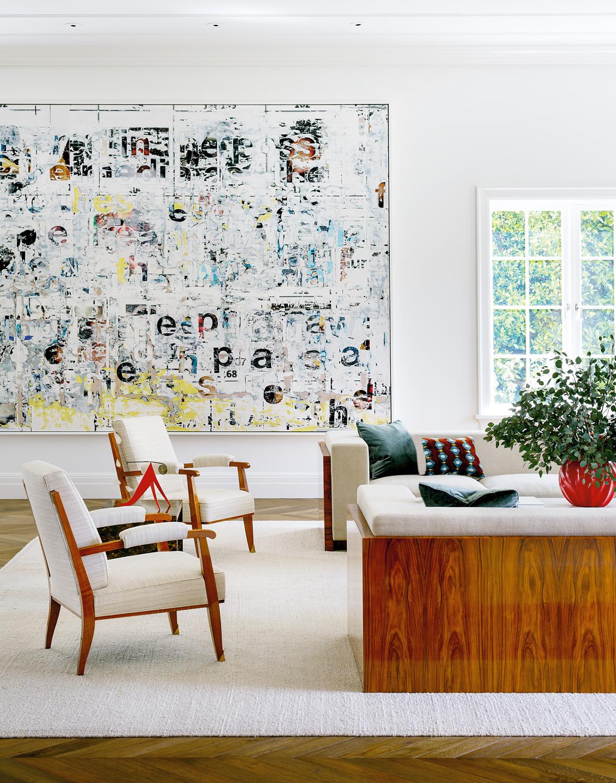Designer, Madeline Stuart, Painting by Mark Bradford. Photo by Trevor Tondo for Galerie Magazine.