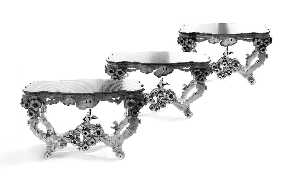 Kilovoxel, Mega & Giga Voxel Tables , Joris Laarman, nickle-plated neodymium 3D voxels