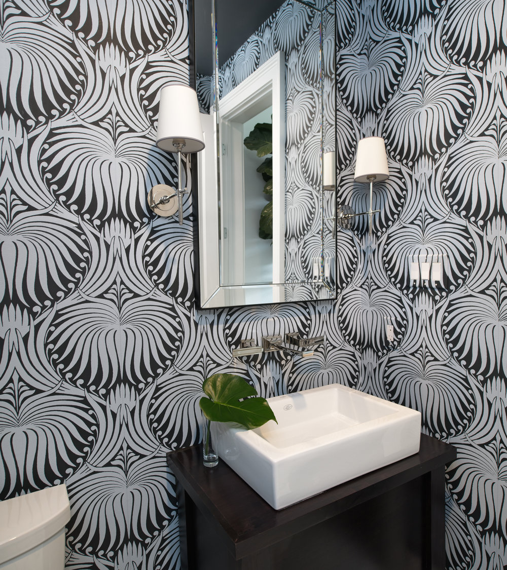 "Beth Lindsey Interior Design. Powder Room in Farrow and Ball ""Lotus""."