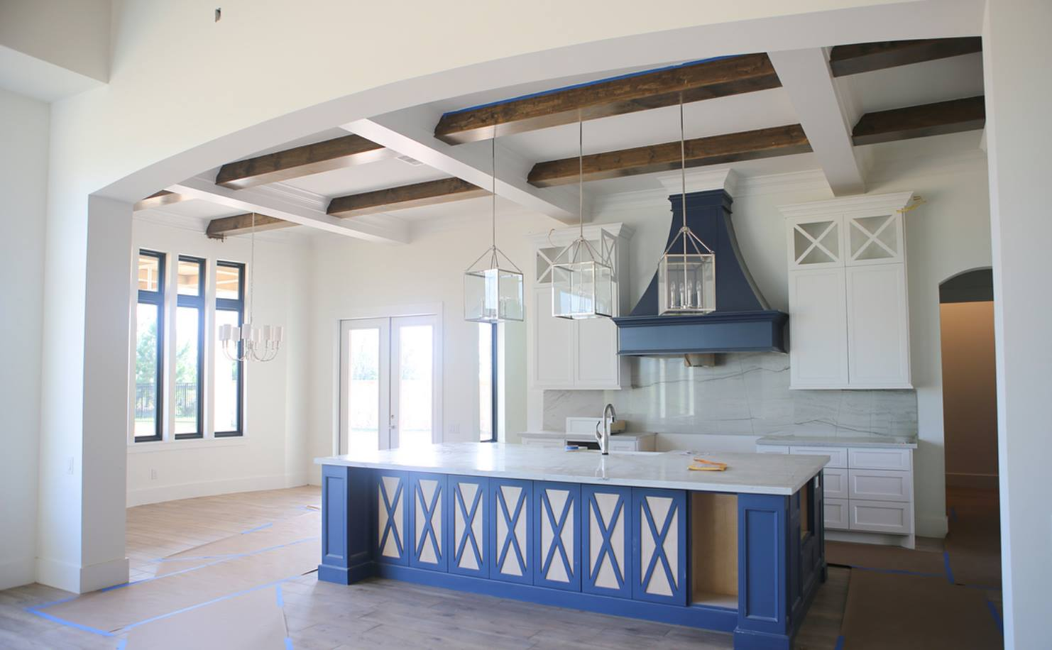 Beth Lindsay Interior Design; Benjamin Moore Van Duesen Blue and Shermin Williams Pure White.