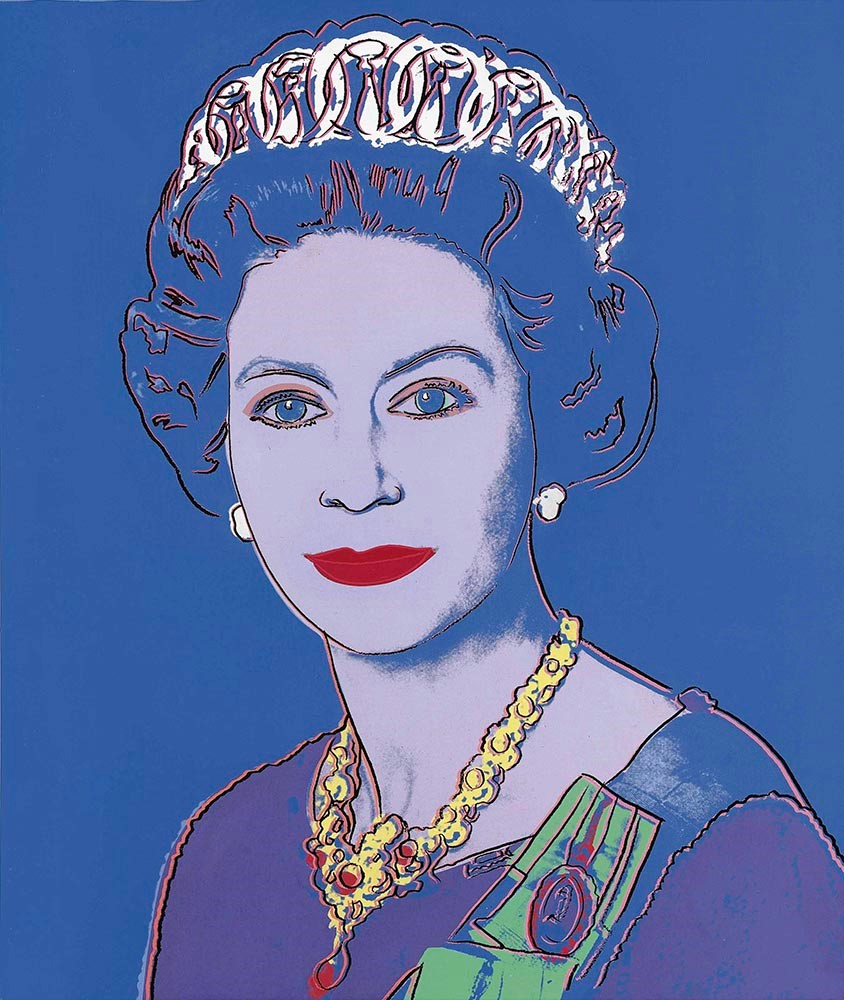 Andy Warhol,  Queen Elizabeth II,  1985, acrylic and screenprint on canvas, private collection. © 2018 The Andy Warhol Foundation for the Visual Arts, Inc. / Licensed by Artists Rights Society (ARS), NY