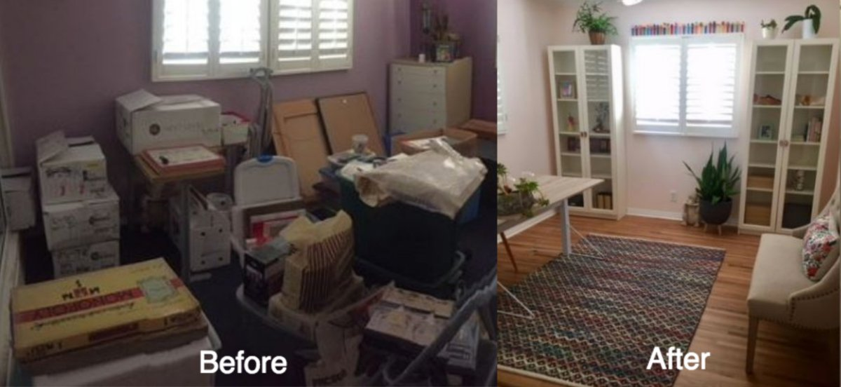 Marie Kondo before and after.