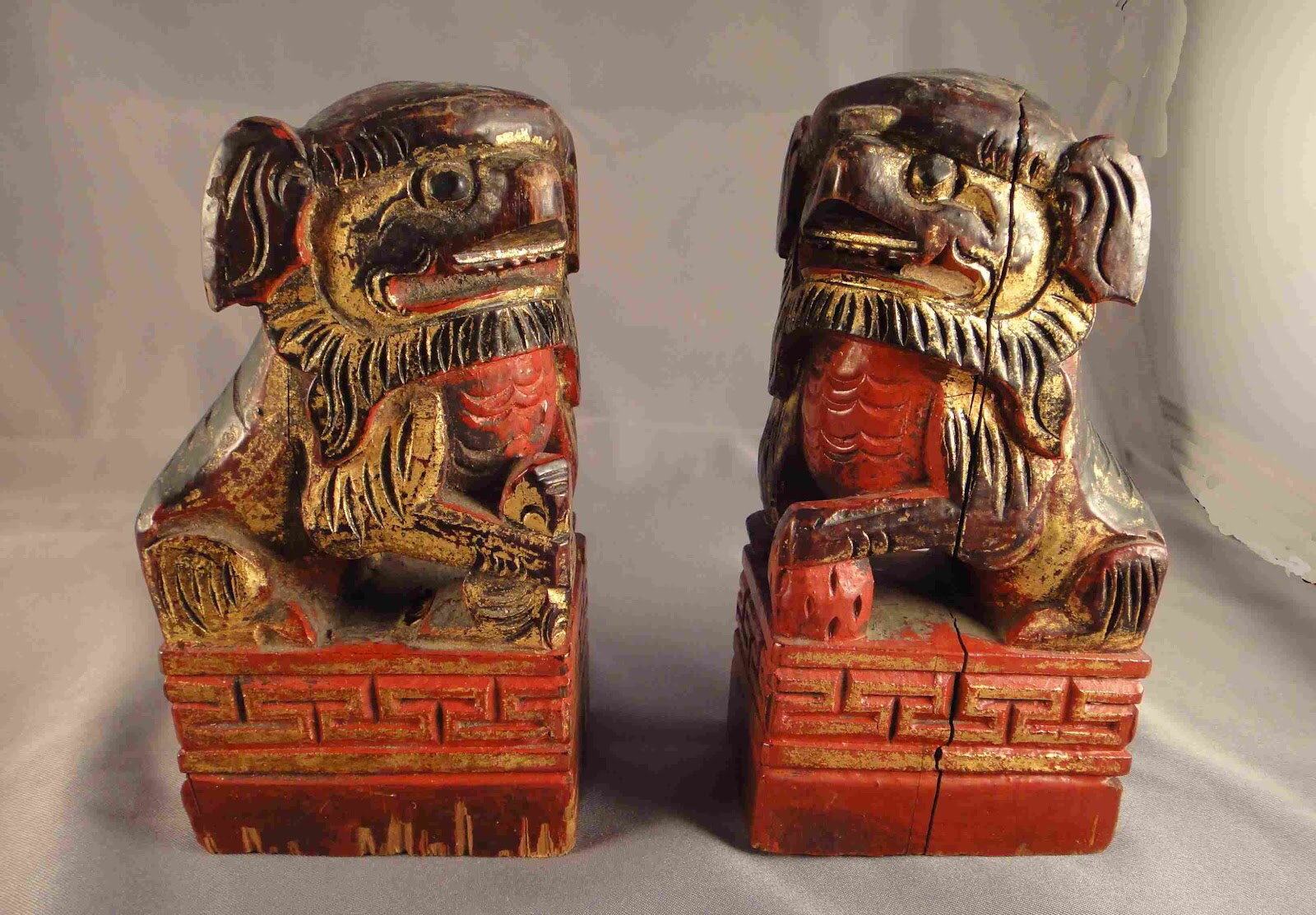 Antique Chinese Wooden Foo Dogs, via The Road To Parnassus.