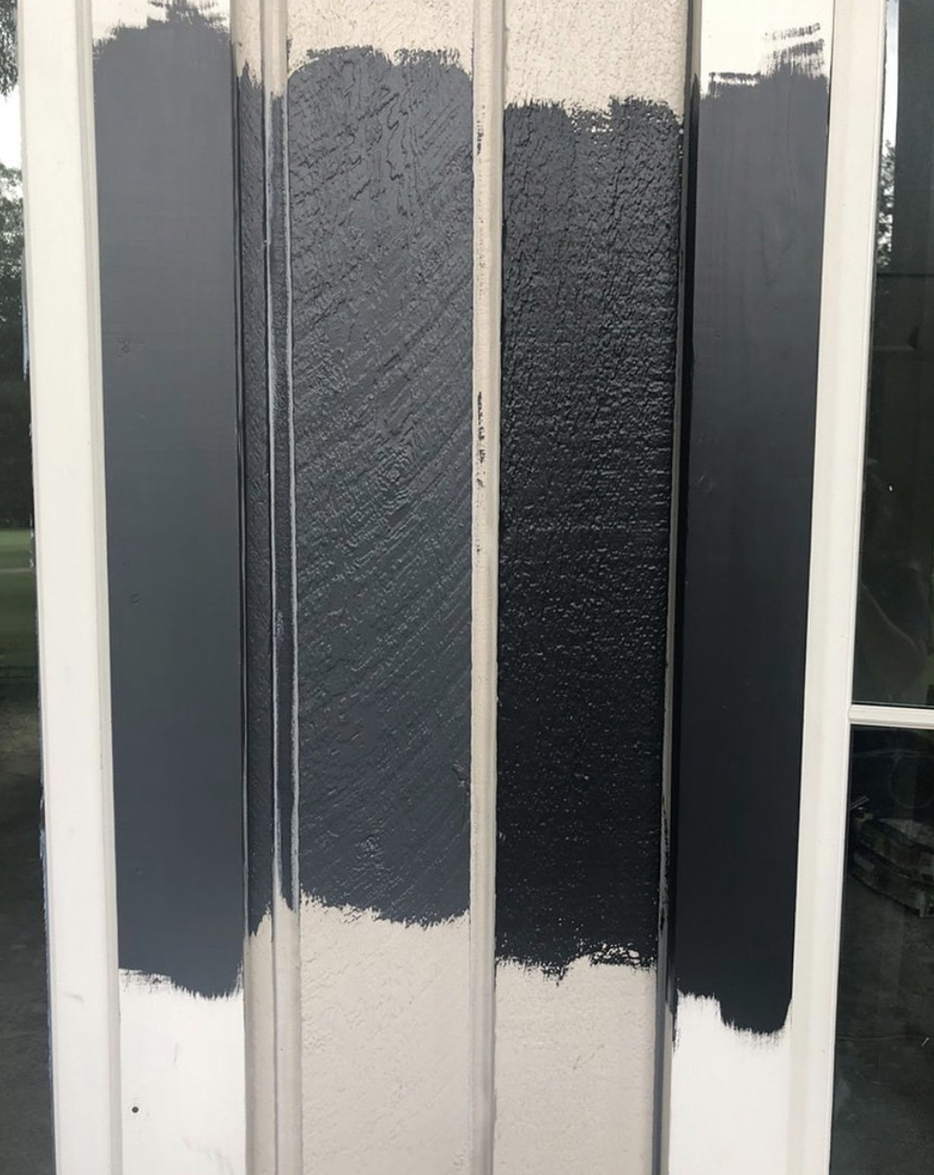 The paint samples for the exterior of our home.