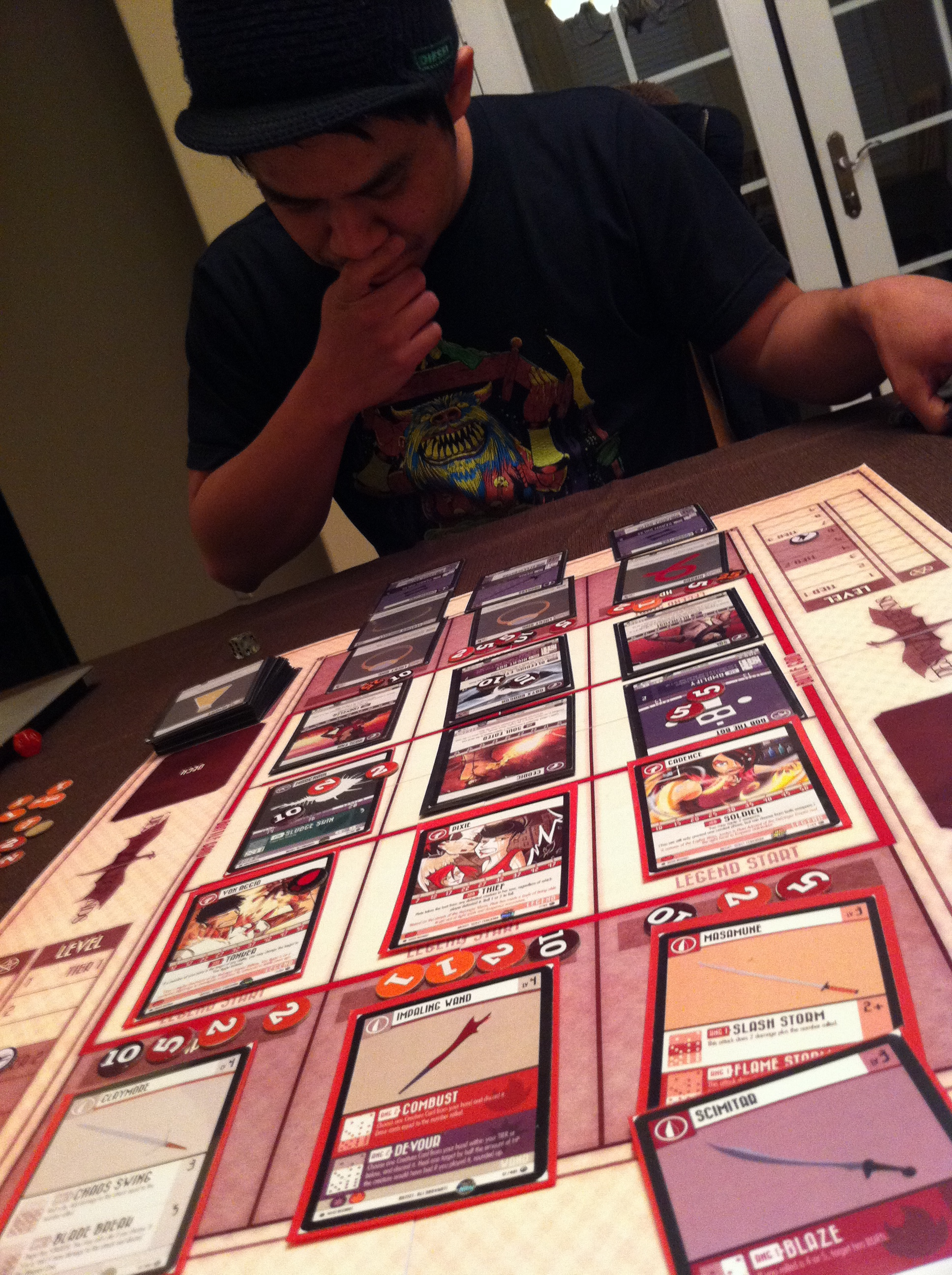 Early Destined Legends play test before any final art was added.
