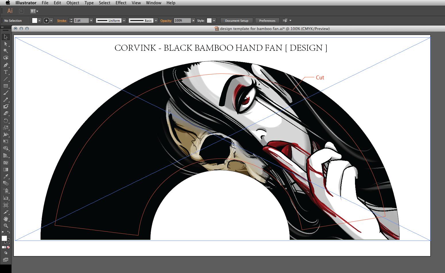 """Death"" Hand Fan Design Mock-Up in Adobe Illustrator [ 17.4"" x 8.7 ]"