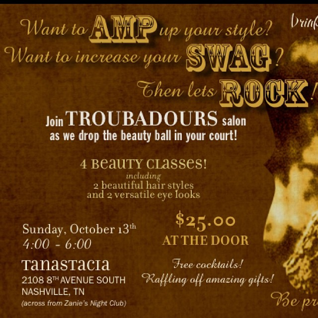 Im gonna keep posting it so Y #trou Guys don't forget!!!!!! Drinks... PRIZES... Classes... We have a HUGE giveaway that you guys won't want to miss!!! Can't wait to tell you! #troubadour #salon #bangs #haircolor #love #October #hair #party #swag
