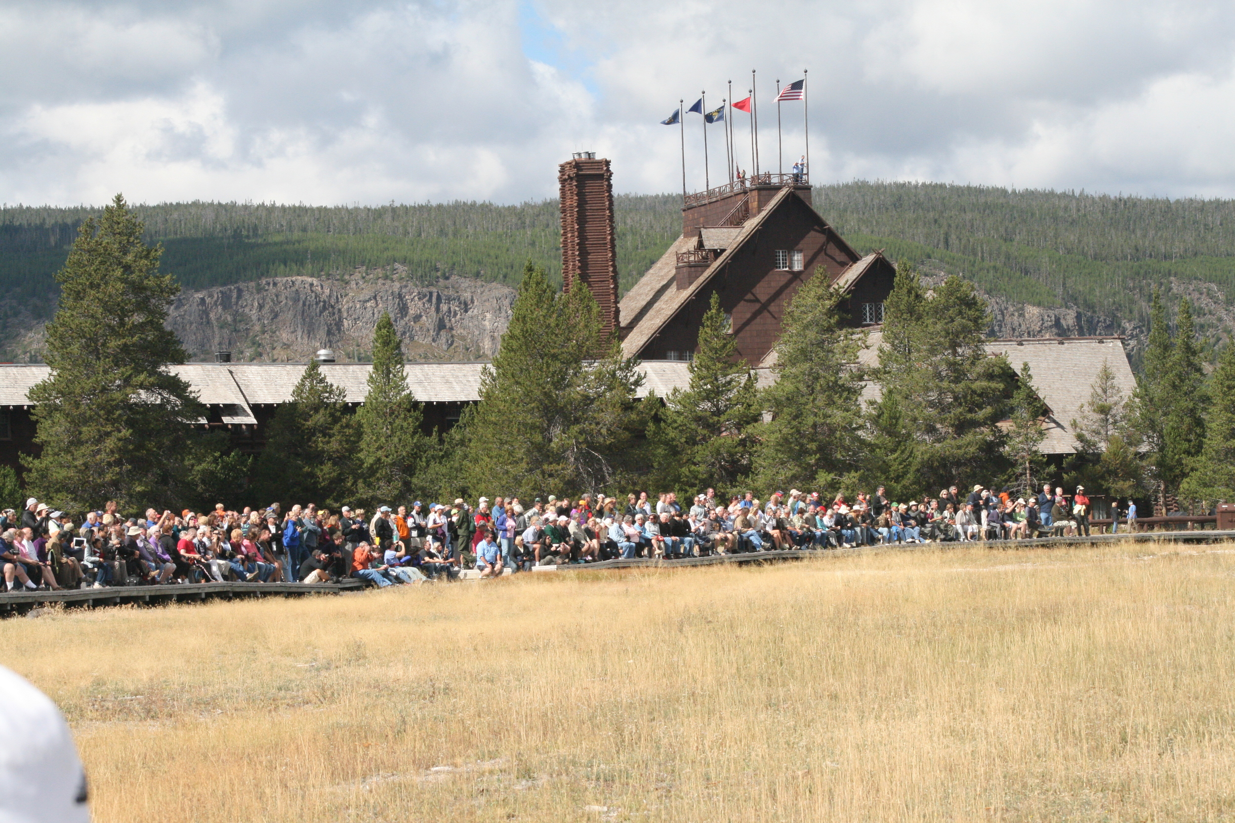 Crowds waiting for Old Faithful