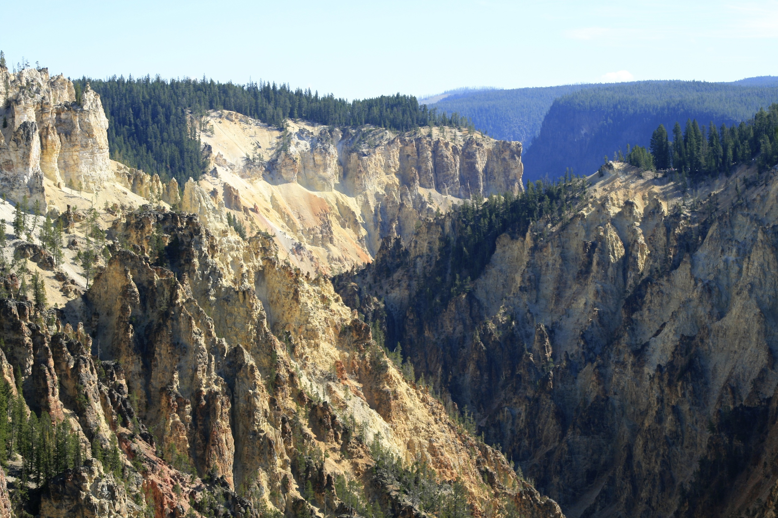 The view while hiking the rim of the Grand Canyon of the Yellowstone