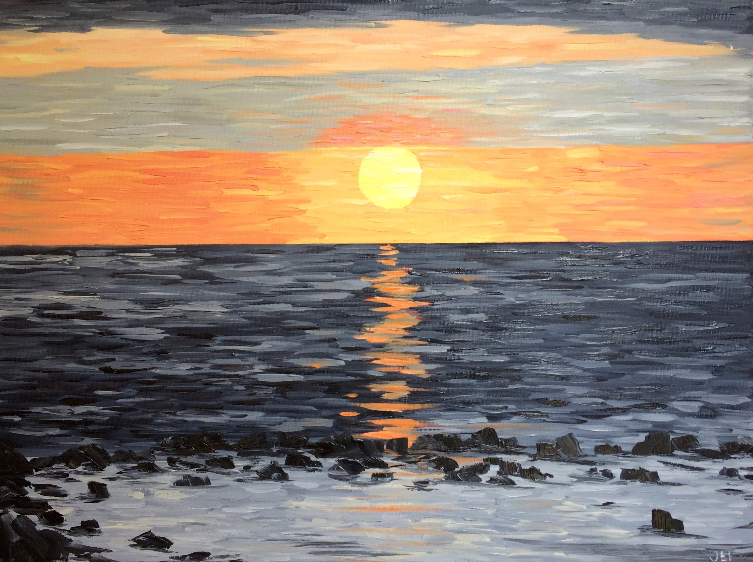 Outrigger Sunset. Oil on canvas (pallet knife application). 2013. 24 x 18.