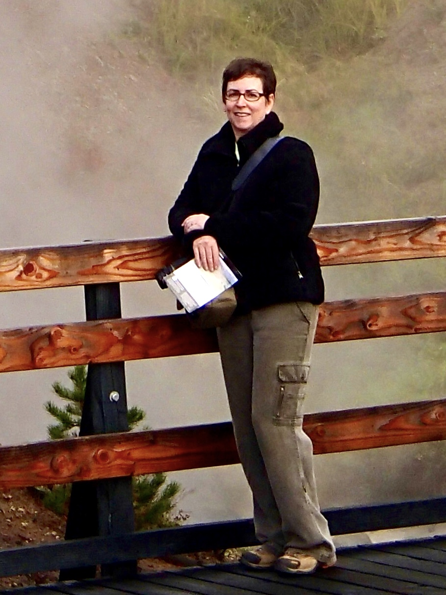Touring Yellowstone in 2013 in Tencel pants and teddy bear jacket