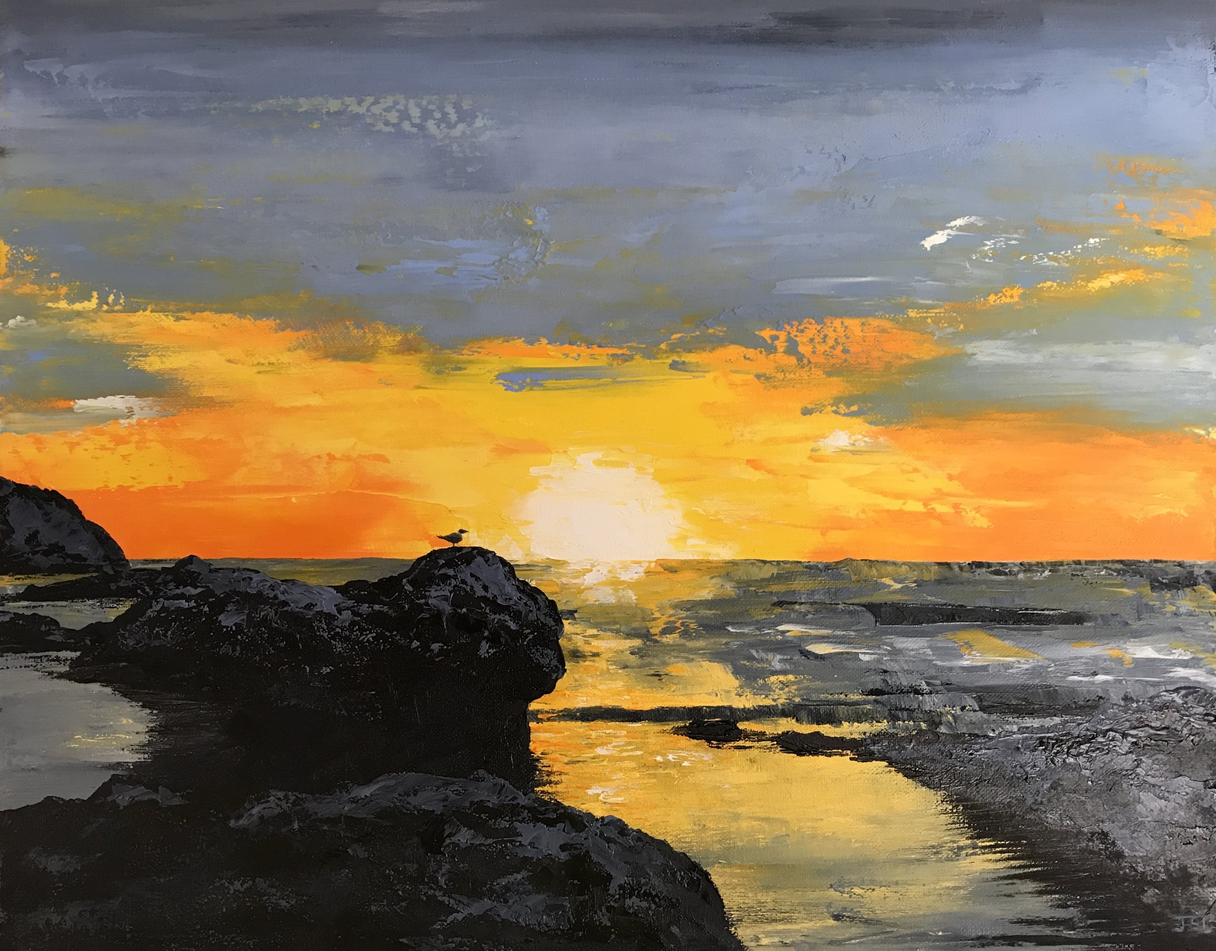 "Yaquina Sunset (With Extra Seabird). Oil on Canvas 20"" x 16"""