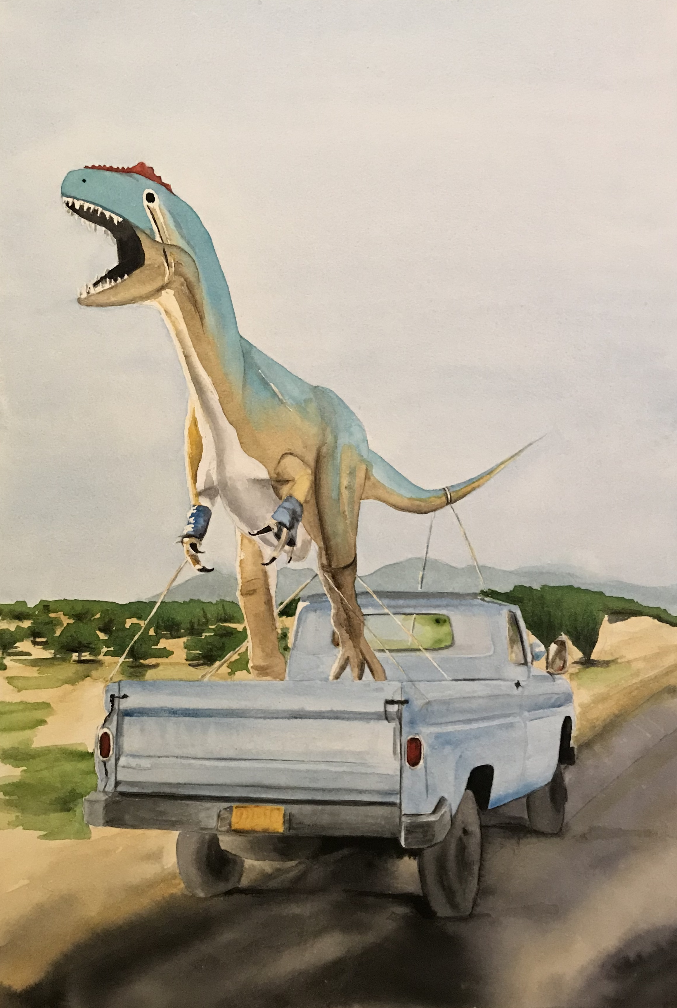 "Tyrannosaurus Ex. 14ish"" x 20ish"" watercolor on paper."