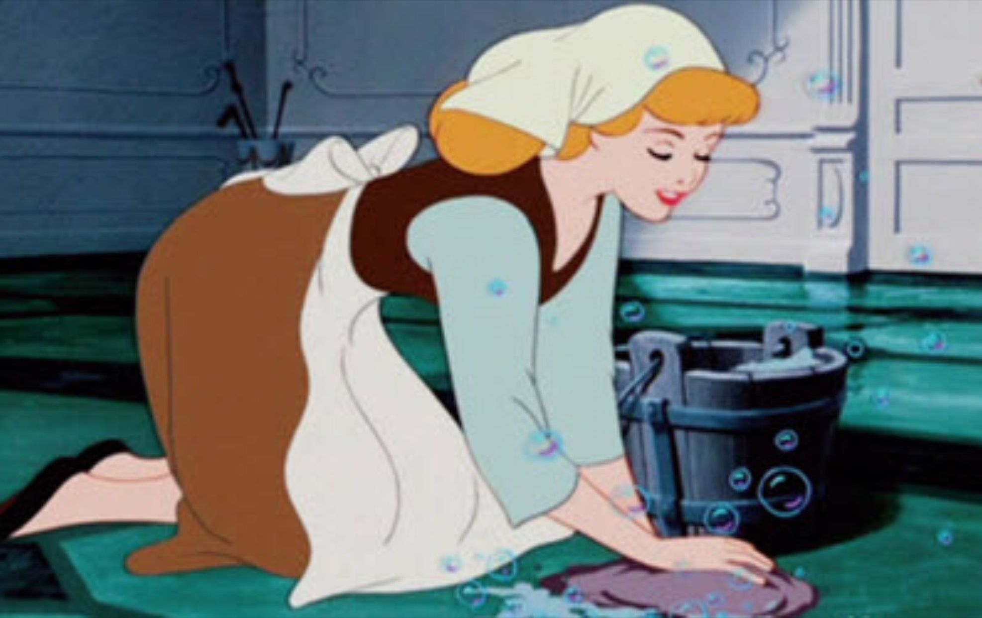 Cinderella looked good scrubbing floors. A perfectly good and healthy beauty role model.